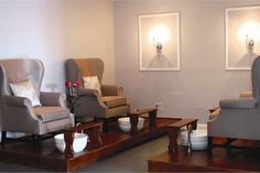 The pedicure suite is a secluded room with flat screen TVs and wing chairs suited for customers seeking a little more privacy or tranquility.