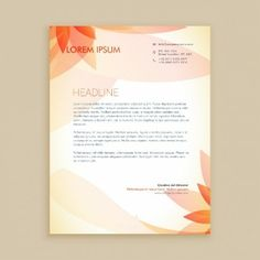 Letterhead with orange abstract flowers