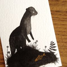 otter and fish. another ACEO in the series.