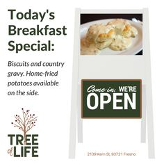 Today's breakfast special is our Biscuits and Country Gravy. Crispy on the outside, tender on the inside: just like biscuits should be! Don't miss out! Doors open at 7am. #Breakfast #Fresno