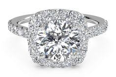 French-Set Halo Diamond Band Engagement Ring - in Platinum (0.45 CTW) - Shadow