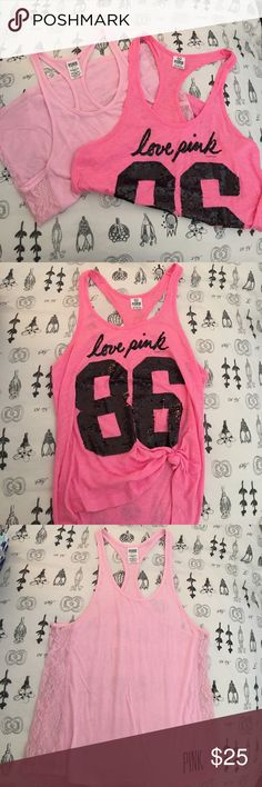 Victoria's Secret Pink Tank Top Bundle! Two pink Victoria's Secret tank tops :) The darker pink one is XS and the light pink one is S! Open to offers! PINK Victoria's Secret Tops Tank Tops