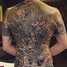 Full back tattoo Back piece Master piece Garuda Wishnu Kencana GWK Bali island Hinduism