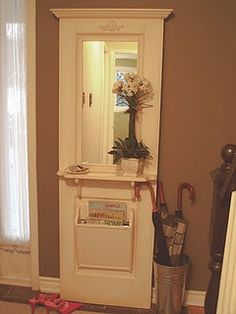 Entry table/stand: re-purposed door mirror, closet doors, entry doors, closets, entryways, repurpos door, front doors, old doors, wood doors