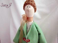 Купить Кукла тильда Шоколад с мятой - мятный, шоколадный цвет, бежевый цвет, купить куклу