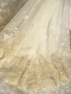 Ivory embroidered lace fabric, vintage floral trim lace,  antique bridal cotton lace