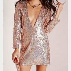 Miss guided party dress Brand new Never been worn gold and pink sequins perfect condition can be worn with v neck in front or back! Missguided Dresses Mini
