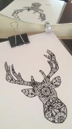 Deer head mandala drawing Desenho cabeça de alce/cervo