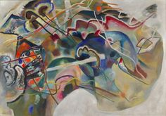 Vasily Kandinsky, Painting with White Border, May 1913. Oil on canvas, 55 1/4 x 78 7/8 inches (140.3 x 200.3 cm)