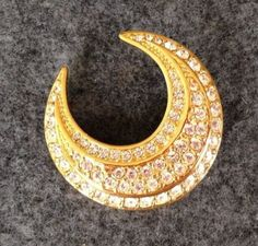 Joan Rivers Pin Crescent Moon Gold Tone and by SCLadyDiJewelry