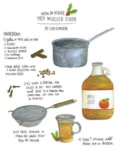Mulled Cider - this recipe illustration is so cute, looks tasty, too!