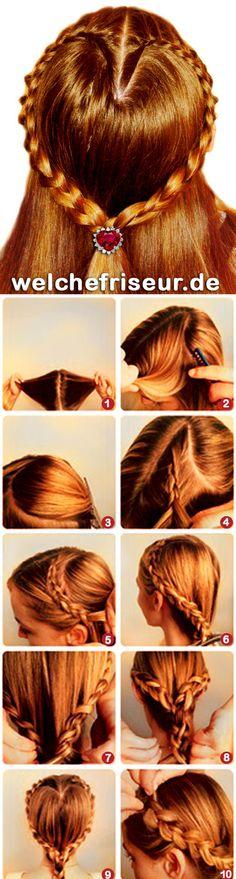 Geflochtene Herz.  Möchtest du mehr erfahren über Haar und Haarpflege? An diese Webseite kannst du viele interessante Themen finden und mehrere Videos.  http://welchefrisur.de/index.html