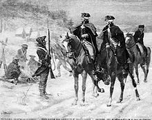 "Washington and Lafayette at Valley Forge: When Washington expressed embarrassment at the state of the camp and the troops, Lafayette responded, ""I am here to learn, not to teach."""