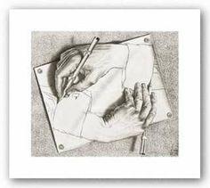 SURREALIST ART PRINT Drawing Hands M.C. Escher