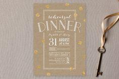 """""""Fork on Kraft"""" - Whimsical & Funny Rehearsal Dinner Invitations in Goldenrod by Erin Deegan."""