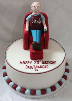 West Ham Fans, 70th Birthday, Creative Cakes, Cake Decorating, Armchair, Desserts, Food, Sofa Chair, Tailgate Desserts