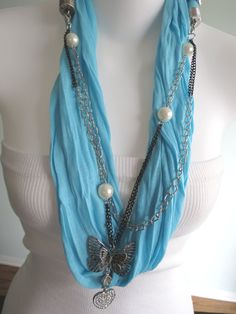 Jewelry Woman Scarf-Accessories-Fancy Scarf-Necklace Scarf-Knitting. $9.99, via Etsy.
