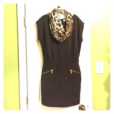 """GUC """"MICHAEL KORS""""  Size 8 Brown Mini dress This is a Re-POSH item. (Scarf is not included). Very good used condition. Nice however a bit too mini for my liking. Otherwise a very hip and fun knit dress by MK. Make me an offer! Michael Kors Dresses Mini"""