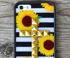 Sunflower Stripes Gold Studded Cross iPhone 5/5s case                        | Wildflower cases