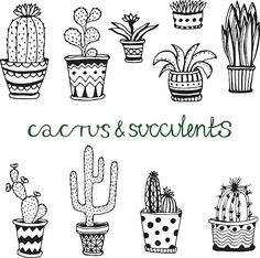 수작업 육즙이 cactuse 설정합니다. 낙서 florals in pots 벡터 아트 일러스트