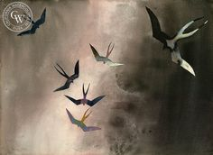 Frigate Birds, Cabo San Lucas, 1975, California art by Millard Sheets. HD giclee art prints for sale at CaliforniaWatercolor.com - original California paintings, & premium giclee prints for sale