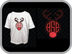 Rudolph red nose antler monogram Toddler shirt. Short sleeve only. - pinned by pin4etsy.com