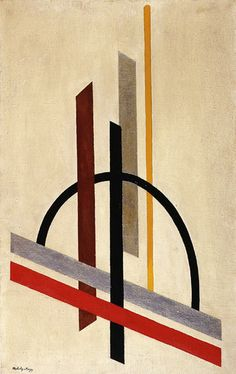 László Moholy-Nagy, was a Hungarian painter and photographer as well as professor in the Bauhaus school. He was highly influenced by constructivism and a strong advocate of the integration of technology and industry into the arts. / Architecture / 1920–21 / oil on burlap / Guggenheim Museum