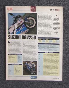 Honda cb125 owners workshop service repair manual cd125 cm125 benly suzuki rgv250 1994 motorcycle bike magazine page review advertisement rgv 250 suzuki motorcycleadvertisement fandeluxe Image collections