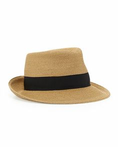 Squishee Classic Fedora, Natural/Black by Eric Javits at Neiman Marcus.