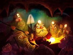 juanbjuan children illustration: Dwarves and hobbit into a cave with treasure