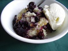 """I made this for breakfast yesterday  -- it was the yummiest cobbler I'd ever had. Dave didn't want to eat any at first, but I gave him a bite of mine and he finished the rest of the bowl! It was NOT soggy at all, and the blue berries """"popped"""" the blueberry juice all over the bread part and was DELICIOUS!! Saving this one!"""