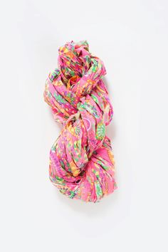 Knit Collage Wildflower Yarn - bulky cotton yarn for knitting - made from indian printed fabrics - in color Coral Crush