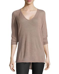 3/4-Sleeve High-Low Sweater, Mauve  by Halston Heritage at Neiman Marcus.