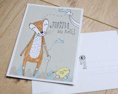 """Frühling - Postkarte """"Fuchsfreuden"""" - ein Designerstück von HerrPfeffer bei DaWanda"""