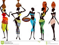 Illustration about Fragile and beautiful african women - vector illustration. Illustration of isolated, africa, indigenous - 17340606 African Art Paintings, African Artwork, African Drawings, African Prints, Easy Paintings, African Fabric, Arte Tribal, Tribal Art, Black Women Art