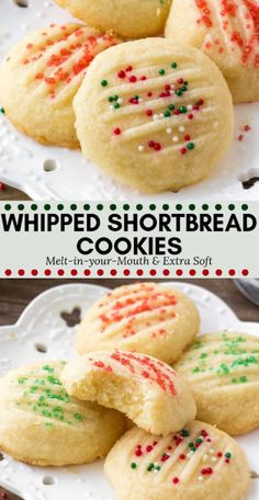 Whipped shortbread cookies are light as air with a delicious buttery flavor. - Whipped shortbread cookies are light as air with a delicious buttery flavor. They melt in your mout - Whipped Shortbread Cookies, Shortbread Recipes, Buttery Cookies, Christmas Shortbread Cookies, Best Holiday Cookies, Cream Cookies, Xmas Cookies, Gingerbread Cookies, Christmas Baking Ideas Cookies