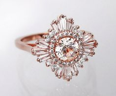 Art Deco | Great Gatsby inspired engagement ring | White Sapphires