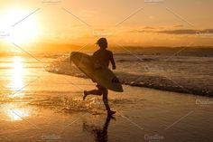 surfer running for sunset surf by elyse.lu on @creativemarket Swell Surf, Sunset Surf, Gold Coast, Antelope Canyon, Surfing, Australia, Vectors, Summer, Rocks