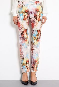 Watercolour Artist Print Cotton Trousers by Carven