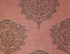 Fall Cotton Fabric  A beautiful floral design in charcoal, red and cream, suitable for curtains and upholstery.