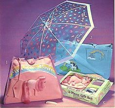 Vintage My Little Pony merchandise from the 1980s. The pony-cut-in-half bag is sought after by many collectors.