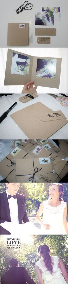 DIY wedding thank you card