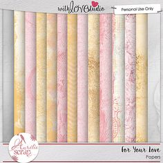 For your love {Papers} from Aurelie Scraps. This beautiful gold, pink and black color palette is perfect for love inspired digital scrapbooking layouts and more.