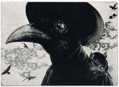 bubonic plague etching
