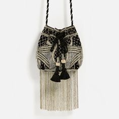Pretty bag from Zara.   Embellished, fringed, loves •••
