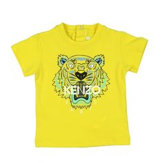69687993dcae Yellow, unisex t-shirt by Kenzo, in the designer s  Tiger Kiosque  theme,  with a roaring tigers head printed on the front in blue and aqua green with  the ...
