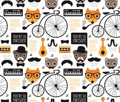 Cool Fox Hipster Music Fabric By Littlesmilemakers On Spoonflower   Custom  Fabric   Wallpaper And Wrapping