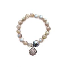 labradorite, tahitian pearl & diamond smiley face - Gold & GrayGold & Gray