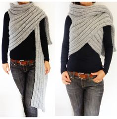 Knitting Pattern for Zendaya Inspired Wrap Scarf - Versatile ribbed scarf / wrap / poncho / jacket inspired by the one of a kind outfit that Zendaya wore in Paris. Suitable for beginners. Size S,M, L,XL. See with other super scarf patterns at http://intheloopknitting.com/super-scarf-knitting-patterns/ Or go directly to the pattern on Etsy http://www.awin1.com/cread.php?awinaffid=234273&awinmid=6220&p=https%3A%2F%2Fwww.etsy.com%2Flisting%2F483640343%2Fknitting-pattern-zendeya-inspired