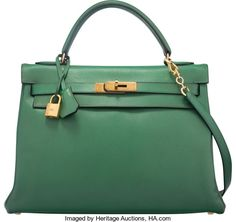 Hermes 32cm Vert Bengale Courchevel Leather Retourne Kelly Bag withGold Hardware. U Circle, 1991. Good to Very Good C...